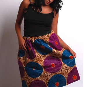 african print skirt with tie front
